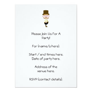 Gentleman with Mustache and Top Hat. 17 Cm X 22 Cm Invitation Card