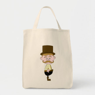 Gentleman with Mustache and Top Hat. Canvas Bags