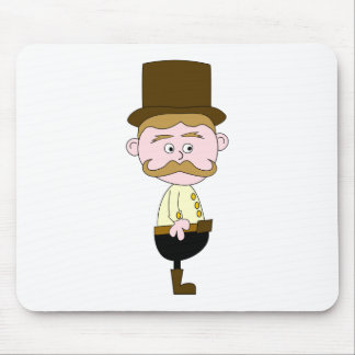 Gentleman with Mustache and Top Hat Mousepad