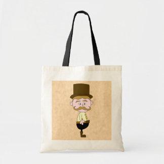 Gentleman with Top Hat and Mustache. Custom Canvas Bag