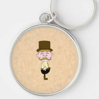 Gentleman with Top Hat and Mustache. Custom Key Chain
