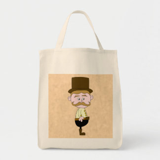 Gentleman with Top Hat and Mustache. Grocery Tote Bag
