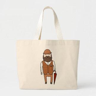 Gentleman with umbrella jumbo tote bag