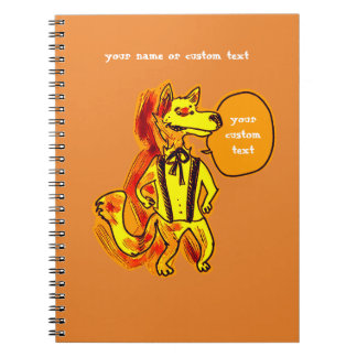 gentleman wolf cartoon style funny illustration notebook