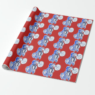 gentleman wolf cartoon style funny illustration wrapping paper
