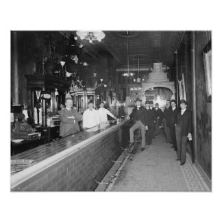 Gentlemen At The Bar, 1910. Vintage Photo Poster