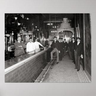 Gentlemen Drinking At The Bar, 1910. Vintage Photo Poster
