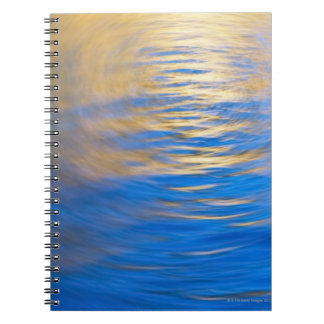 Gently rippled water reflecting gold and blue notebook
