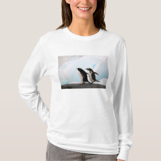 Gentoo penguins on rocky shoreline with backdrop 2 T-Shirt