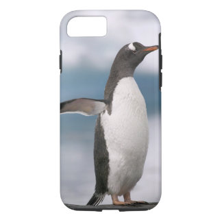 Gentoo penguins on rocky shoreline with backdrop iPhone 8/7 case