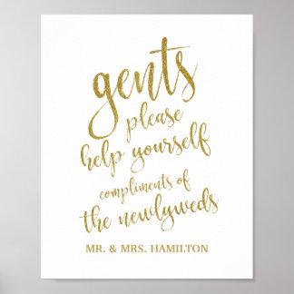 Gents Bathroom Basket Glitter 8x10 Wedding Sign