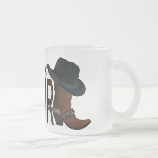 Genuine Authentic COWGIRL Boot & Hat Frosted Glass Mug