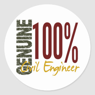 Genuine Civil Engineer Round Stickers