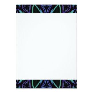 [GEO-BLU-1] Blue and black arabesque 11 Cm X 16 Cm Invitation Card