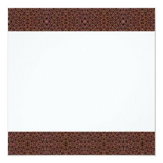 """[GEO-BRO-1] Brown cobble pattern 5.25"""" Square Invitation Card"""