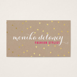 GEO CONFETTI GOLD stylish trendy cool kraft white Business Card