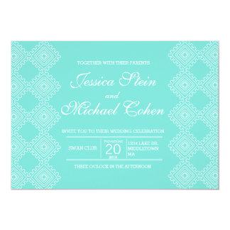 "Geo Diamond Pattern wedding invitation 7""x5"""