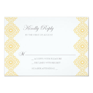Geo Diamond Pattern Wedding RSVP card- tangerine 9 Cm X 13 Cm Invitation Card