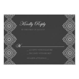 Geo foulards Wedding RSVP card- dark grey 9 Cm X 13 Cm Invitation Card
