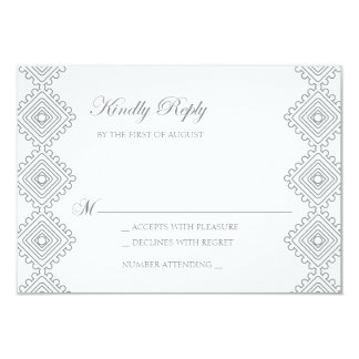 Geo foulards Wedding RSVP card- grey 9 Cm X 13 Cm Invitation Card