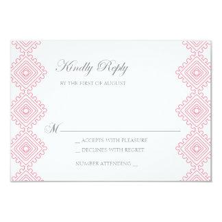 Geo foulards Wedding RSVP card- pink 9 Cm X 13 Cm Invitation Card
