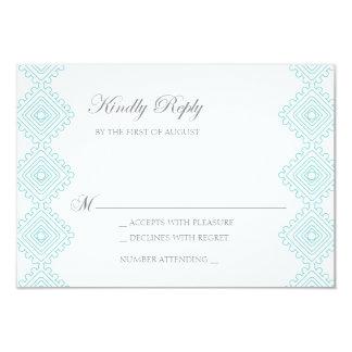 Geo foulards Wedding RSVP card- teal 9 Cm X 13 Cm Invitation Card