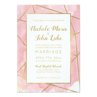 Geo Gold Foil Wedding Invitation Blush Watercolor