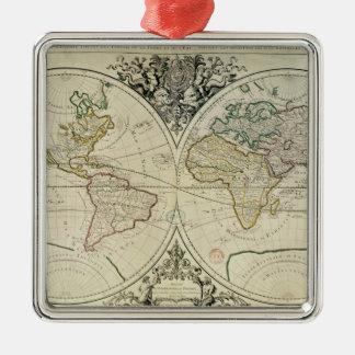 Geo-Hydrographic Mappamonde Silver-Colored Square Decoration
