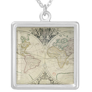 Geo-Hydrographic Mappamonde Silver Plated Necklace
