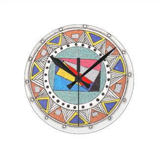 geo mandala round wall clock