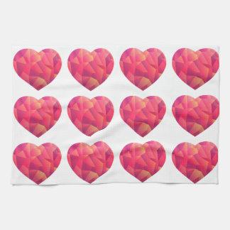 Geo Ombre Rose Pink Heart Tea Towel