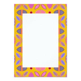[GEO-OR-1] Cute geometric patterns on orange 11 Cm X 16 Cm Invitation Card