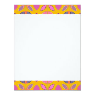 "[GEO-OR-1] Cute geometric patterns on orange 4.25"" X 5.5"" Invitation Card"