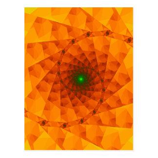 Geo Orange Fractal Postcard