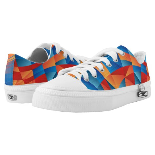 Geo Polygons Orange and Blue Printed Shoes