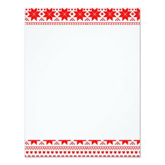 [GEO-RD-1] Red and white Christmas stars 11 Cm X 14 Cm Invitation Card