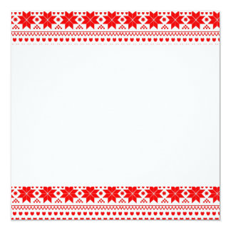 [GEO-RD-1] Red and white Christmas stars 13 Cm X 13 Cm Square Invitation Card