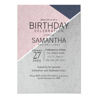 Geo Rose Quartz Navy Blue and Silver Birthday 13 Cm X 18 Cm Invitation Card