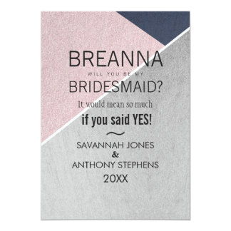 Geo Rose Quartz Navy Blue and Silver Bridesmaids 13 Cm X 18 Cm Invitation Card