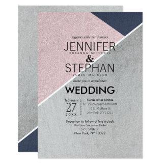Geo Rose Quartz Navy Blue and Silver Wedding 13 Cm X 18 Cm Invitation Card