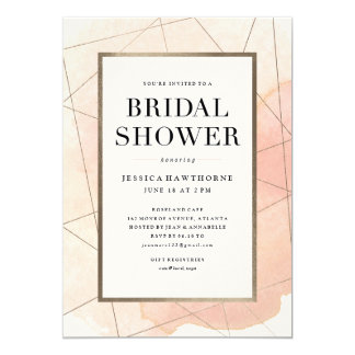 Geo watercolor faux foil bridal shower invitation