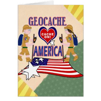 GEOCACHE AMERICA GEOCACHING GREETING CARD