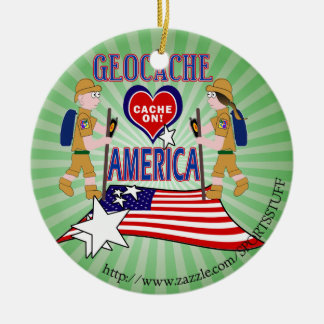 GEOCACHE AMERICA GEOCACHING ROUND CERAMIC DECORATION