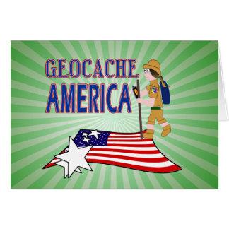 GEOCACHE AMERICA  GIRL CHICK GREETING CARD