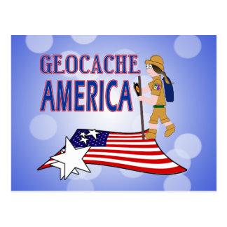 GEOCACHE AMERICA  GIRL CHICK POSTCARD