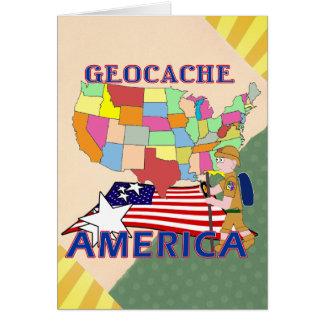 GEOCACHE AMERICA STATES GREETING CARD