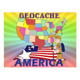 GEOCACHE AMERICA STATES POSTCARD