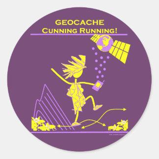 Geocache - Cunning Running Round Sticker