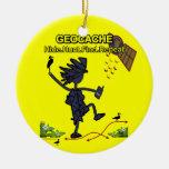 Geocache Hide Hunt Find III Round Ceramic Decoration