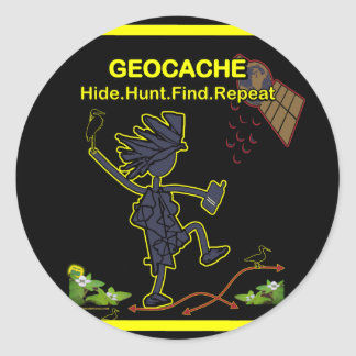 Geocache Hide Hunt Find III Round Stickers